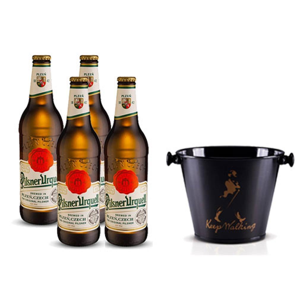 Pack 4 Cervejas Pilsner Urquell 500ml + Balde para Cerveja em Alumínio 5L Keep Walking