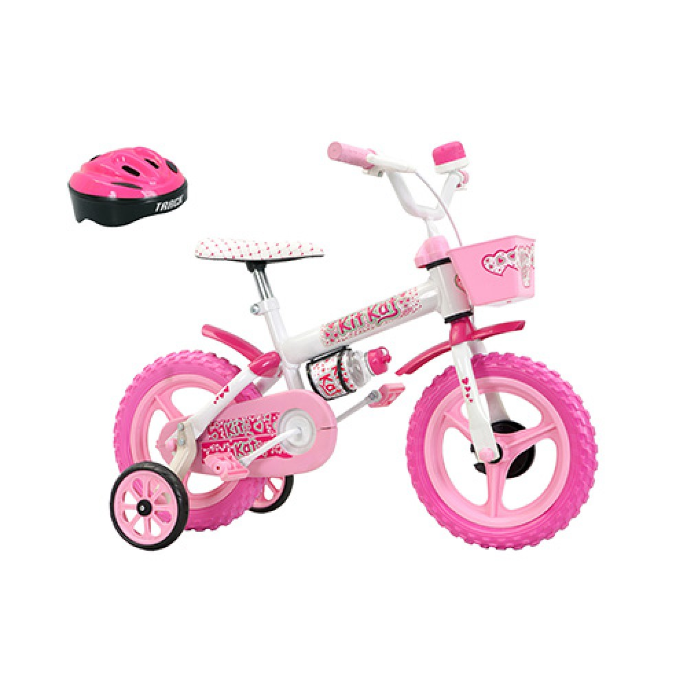 Bicicleta Aro 12 Kit Kat com Capacete - Pink e Branco - Track & Bikes