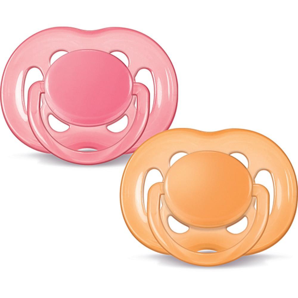 Double Pack Chupeta Freeflow 6 a 18 Meses Rosa e Laranja - Philips Avent
